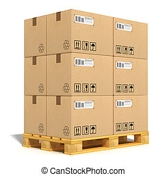 Cardboard boxes on shipping pallet - Cargo, delivery and...
