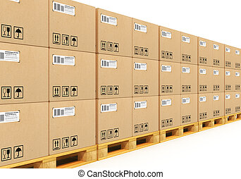 Empilhado, cardbaord, caixas, despacho, Pallets