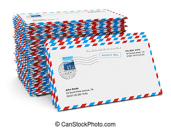 Stack of paper mail letters - Stack of paper air mail...