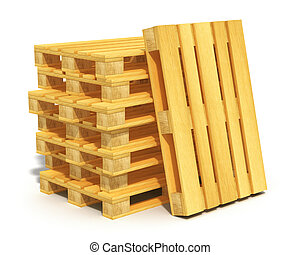 Stack of wooden shipping pallets - Logistics, cargo...