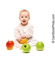 cute happy baby with fruit apples isolated