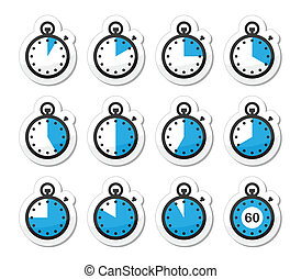 Time, clock, stopwatch vector icons - Timer measuring...