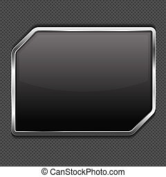 Black frame on a metal background, vector eps10 illustration