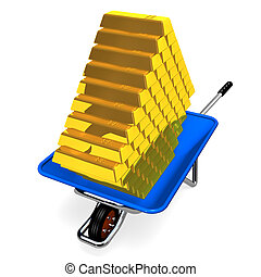 Barrow With Gold Bar 3D render illustration Isolated on...