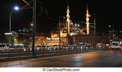 Galata Bridge - time lapse the busy city traffic with new...