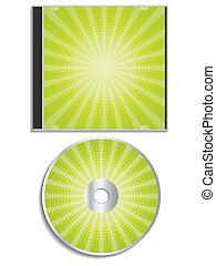Green halftone cd and cover design on white