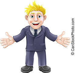 Blonde businessman cartoon - Cartoon illustration of a happy...