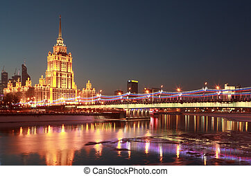 Hotel Ukraine. Moscow River. Moscow. - Hotel Ukraine view...