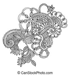 Neckline embroidery design- floral ornamented pattern Hand...