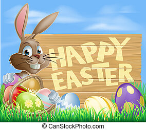 Happy Easter Sign - Happy cartoon Bunny character with...