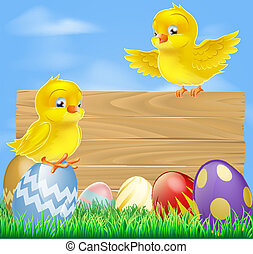 Easter chicks and wooden sign - An illustration of cute...