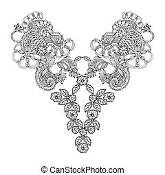 Neckline embroidery fashion on simple white background