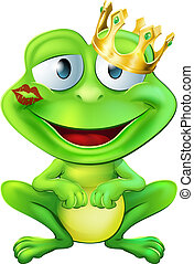 Kissed frog prince - An illustration of a cute frog cartoon...