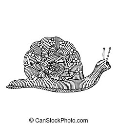 Snail illustration - Black and white illustration of snail...