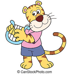 Cartoon Tiger Playing a Harp - Cartoon giraffe playing a...