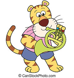 Cartoon Tiger Playing a French Horn - Cartoon tiger playing...
