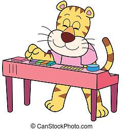 Cartoon Tiger Playing an Electronic Organ - Cartoon tiger...