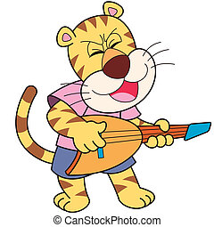 Cartoon Tiger Playing an Electric Guitar - Cartoon tiger...