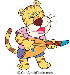 Cartoon Tiger Playing an Electric Guitar - Cartoon tiger...