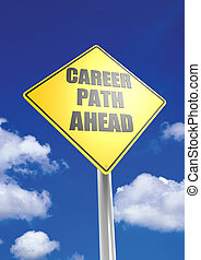 Career path ahead - Rendered artwork with blue sky...