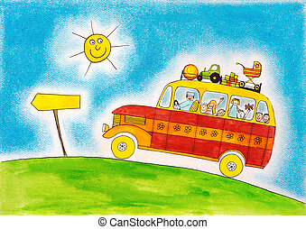School, bus, trip, child's, drawing, watercolor, painting,...