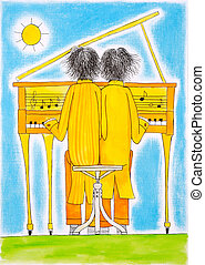 Piano players, Gemini, child's drawing, watercolor painting on paper