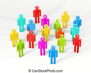 people - colourful  peoples isolated on a white background