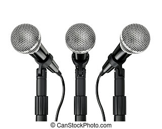 microphone - metal microphone isolated on a white background