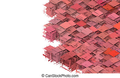 3d abstract fragmented pattern pink red backdrop