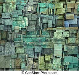 fragmented blue green square tile grunge pattern backdrop