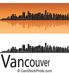Vancouver skyline in orange background in editable vector...
