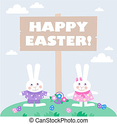 card with easter eggs and bunnies - easter card template -...