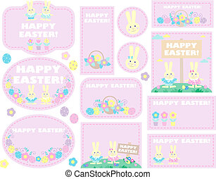 easter labels and tag - set of easter labels, tags with eggs...
