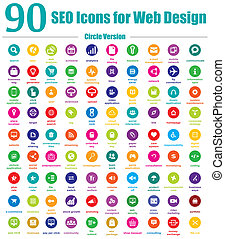 90 SEO Icons For Web Design Circle