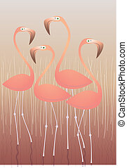 Four Flamingos Illustration: isolated on swamp background....