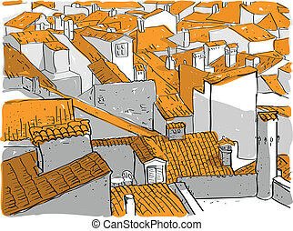 Old City Rooftops hand drawn illustration. Illustration is...