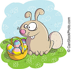 Easter Bunny with Basket of Eggs hand drawing. Illustration...