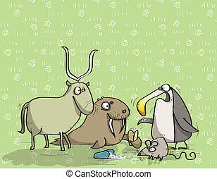 Animals Having Fun No12 on green background Illustration is...