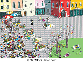 Vibrant City Square Cartoon Illustration is in eps10 vector...