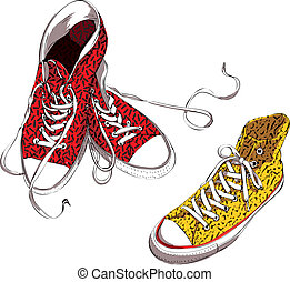 Sneakers with Pattern Illustration is in eps10 vector mode