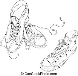 Sneakers in Black and White Illustration is in eps8 vector...