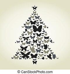 Butterfly a pine - Pine made of butterflies. A vector...