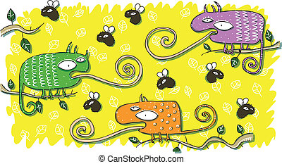 Chameleons and Flies Cartoon Set. Illustration is in eps10...