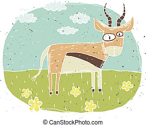 Hand drawn grunge illustration of cute antelope on...