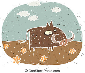 Hand drawn grunge illustration of cute warthog on background...