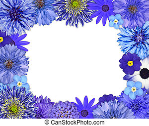 Flower Frame with Blue, Purple Flowers on White - Flower...