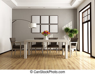 Contemporary dining room - Contemporary beige and brown...