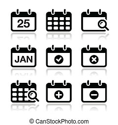 Calendar date vector icons set - Black calendar icons with...