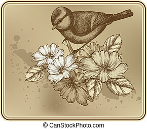 Floral background with a bird titmouse and blooming roses. Vector illustration.