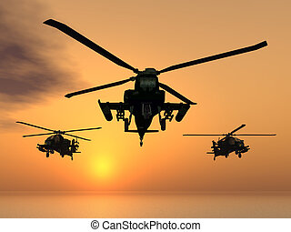 Apache Helicopters - Computer generated 3D illustration with...